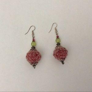 Dangle Earrings Frozen Candy Red Handmade